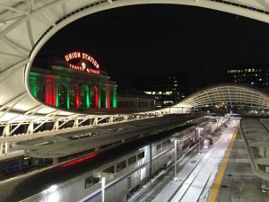 Denver Union Station with Christmas colors and canopy