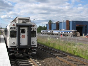 A DMU made by Colorado Railcar awaits departure, with two RDCs on standby at the WES line's terminus in Wilsonville, OR in June of 2011.  WES purchased the RDCs from the Alaska Railroad to bolster the DMU fleet.  Officials are interested in purchasing another pair, in 2016, due to their reliability.