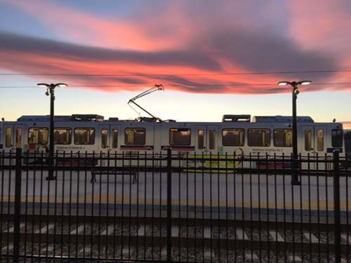 photo of R-Line cars and tracks at sunset
